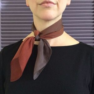 Vintage Ombré Brown Silk Chiffon Square Scarf